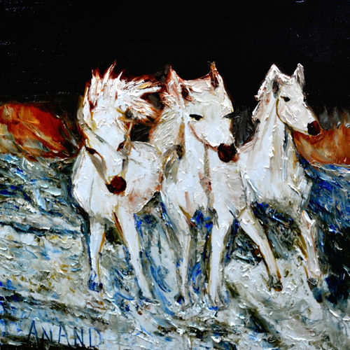 the three in snow, 36 x 36 inch, anand manchiraju,36x36inch,canvas,paintings,wildlife paintings,paintings for dining room,paintings for living room,paintings for bedroom,paintings for office,paintings for kids room,paintings for hotel,paintings for school,oil color,GAL01254022818