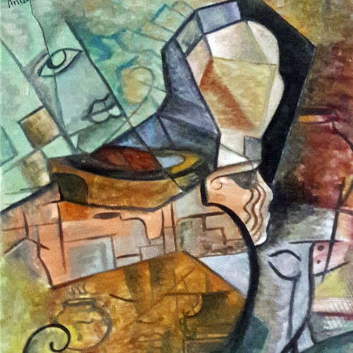 women with the pitcher, 12 x 16 inch, rambling tiger,abstract paintings,paintings for living room,canvas,oil paint,12x16inch,GAL08862282