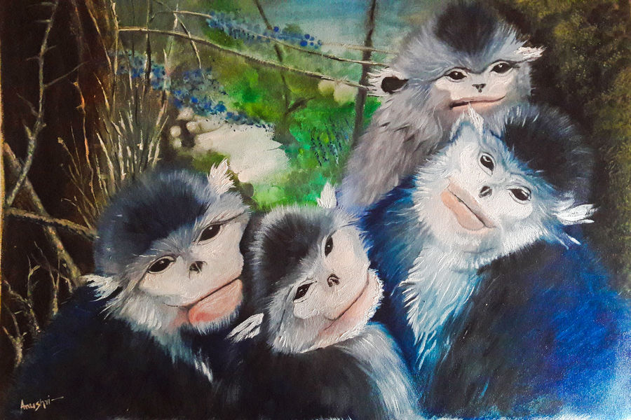 the monkey family, 25 x 17 inch, rambling tiger,wildlife paintings,paintings for office,canvas,oil paint,25x17inch,GAL08862283