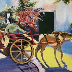 way to the morning market, 16 x 12 inch, diptonil banerjee,16x12inch,canvas board,paintings,figurative paintings,acrylic color,GAL01103222838