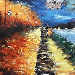 walking in the evening, 20 x 12 inch, diptonil banerjee,20x12inch,handmade paper,paintings,nature paintings,acrylic color,watercolor,GAL01103222839
