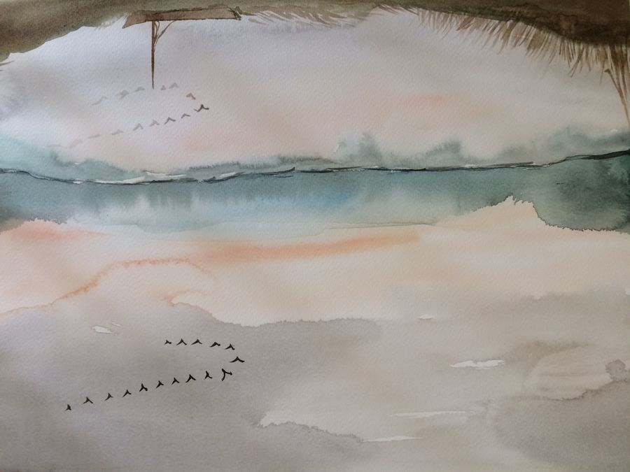 clouds and colours, 15 x 12 inch, arpitha m d,landscape paintings,paintings for bedroom,nature paintings,fabriano sheet,watercolor,15x12inch,GAL08102284Nature,environment,Beauty,scenery,greenery