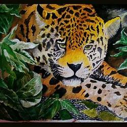 big cat painting, 15 x 12 inch, akash jagtap,15x12inch,handmade paper,paintings,wildlife paintings,poster color,GAL01287222848