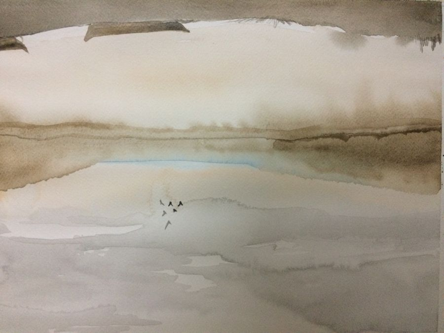 clouds and the pond, 15 x 12 inch, arpitha m d,landscape paintings,nature paintings,paintings for living room,paintings for office,fabriano sheet,watercolor,15x12inch,GAL08102285Nature,environment,Beauty,scenery,greenery