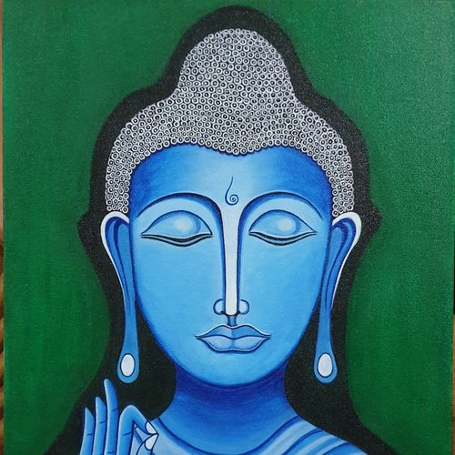 meditating buddha on canvas, 18 x 24 inch, monalisa mohapatra,18x24inch,canvas,paintings,buddha paintings,paintings for living room,paintings for bedroom,paintings for office,acrylic color,GAL01274822854