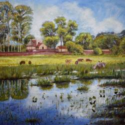 talatal ghar, the remains of history, 20 x 16 inch, debojyoti boruah,20x16inch,canvas,paintings,landscape paintings,nature paintings,realism paintings,realistic paintings,paintings for dining room,paintings for living room,paintings for bedroom,paintings for office,paintings for hotel,paintings for school,paintings for hospital,acrylic color,GAL01261422859,tree,green,water,house