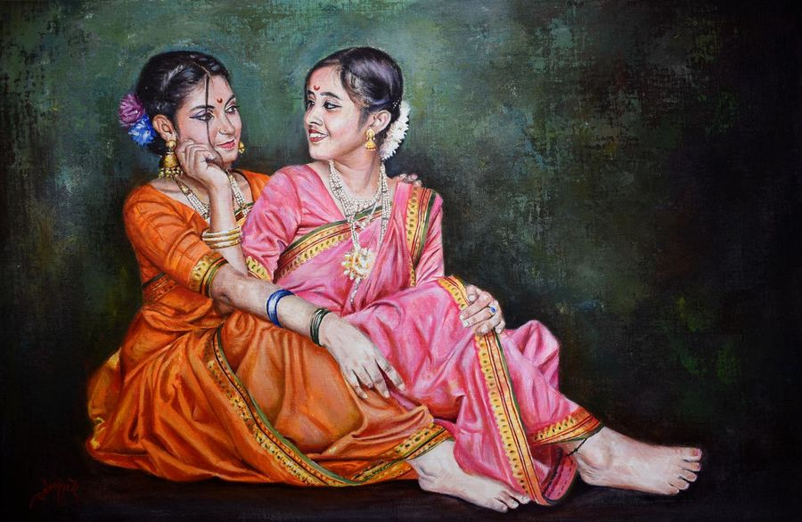 sakhi, friendship forever, 30 x 20 inch, debojyoti boruah,30x20inch,canvas,paintings,figurative paintings,portrait paintings,photorealism paintings,photorealism,portraiture,realism paintings,paintings for dining room,paintings for living room,paintings for bedroom,paintings for office,paintings for bathroom,paintings for kids room,paintings for hotel,paintings for school,paintings for hospital,acrylic color,GAL01261422862