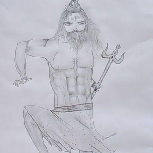 shiva, 18 x 29 inch, chithra ravindran,illustration drawings,paintings for living room,thick paper,pencil color,18x29inch,GAL08312287