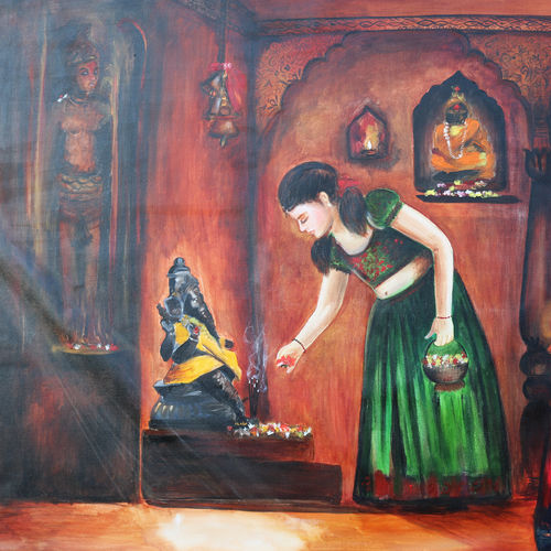 divinity, 36 x 36 inch, deepmala sikri,36x36inch,canvas,paintings,religious paintings,oil color,GAL01228222883
