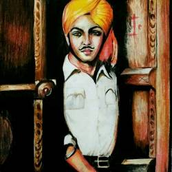 shahid bhagat singh, 12 x 16 inch, deepmala sikri,12x16inch,thick paper,drawings,portrait drawings,paintings for office,paintings for school,pencil color,GAL01228222886