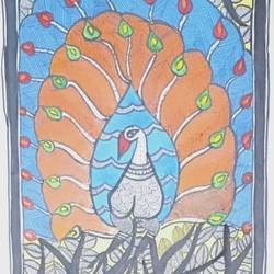 madhubani peacock, 8 x 23 inch, neeraj jha,8x23inch,cartridge paper,paintings,madhubani paintings,paintings for dining room,paintings for living room,paintings for bedroom,paintings for office,paintings for bathroom,paintings for kids room,paintings for hotel,paintings for kitchen,paintings for school,paintings for hospital,fabric,natural color,GAL01278422897