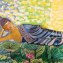 buddha- relaxing buddha, 16 x 12 inch, renu thomas,16x12inch,canvas board,paintings,figurative paintings,religious paintings,paintings for living room,paintings for office,paintings for hotel,acrylic color,pen color,GAL01200322901