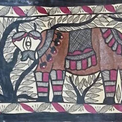 wildlife elephant , 8 x 23 inch, neeraj jha,8x23inch,cartridge paper,paintings,madhubani paintings,paintings for dining room,paintings for living room,paintings for bedroom,paintings for office,paintings for kids room,paintings for hotel,paintings for kitchen,paintings for school,paintings for hospital,fabric,natural color,GAL01278422911
