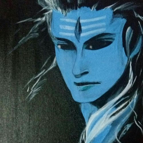 shiva, 12 x 12 inch, deepti agrawal,12x12inch,canvas board,paintings,figurative paintings,religious paintings,portraiture,lord shiva paintings,paintings for living room,paintings for office,paintings for hotel,paintings for hospital,acrylic color,GAL0596822916