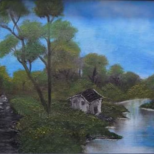 lakeside cabin, 16 x 12 inch, pooja  naidu ,landscape paintings,paintings for living room,canvas,oil,16x12inch,GAL08902292