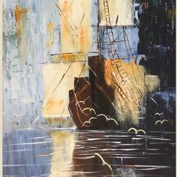 ship in the mist, 18 x 30 inch, jagrook dawra,18x30inch,canvas,paintings,abstract paintings,abstract expressionist paintings,impressionist paintings,contemporary paintings,paintings for dining room,paintings for dining room,acrylic color,GAL01293622921
