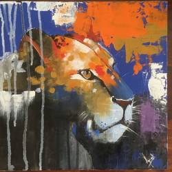 lioness, 12 x 12 inch, jagrook dawra,12x12inch,hardboard,paintings,wildlife paintings,impressionist paintings,animal paintings,paintings for dining room,paintings for living room,paintings for bedroom,paintings for dining room,paintings for living room,paintings for bedroom,acrylic color,GAL01293622923