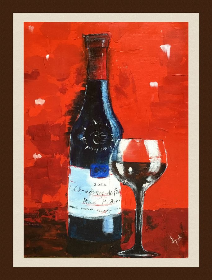 wine and glass, 15 x 20 inch, jagrook dawra,15x20inch,hardboard,paintings,still life paintings,impressionist paintings,paintings for dining room,paintings for living room,paintings for bedroom,paintings for office,paintings for hotel,paintings for kitchen,acrylic color,GAL01293622924