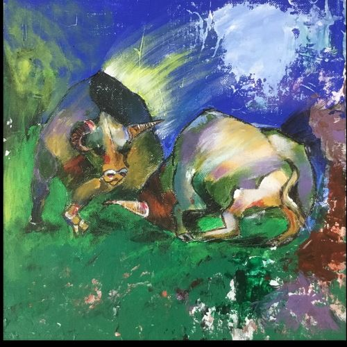bulls fighting, 12 x 12 inch, jagrook dawra,12x12inch,hardboard,paintings,wildlife paintings,impressionist paintings,animal paintings,paintings for dining room,paintings for living room,paintings for bedroom,paintings for hotel,acrylic color,GAL01293622925