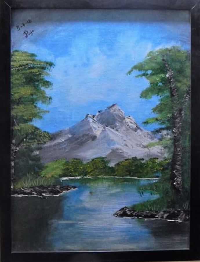 peaceful lake, 12 x 16 inch, pooja  naidu ,landscape paintings,paintings for living room,canvas,oil,12x16inch,GAL08902293
