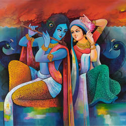 radha krishna love 3, 48 x 36 inch, sanjay  tandekar ,48x36inch,canvas,paintings,radha krishna paintings,acrylic color,GAL0281022931