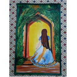 a cute princess , 17 x 27 inch, kumari kanchan,17x27inch,canvas,paintings,acrylic color,GAL0717422932