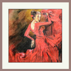 lady in red, 19 x 20 inch, prime international,19x20inch,cartridge paper,paintings,paintings for dining room,paintings for living room,paintings for hotel,paintings for school,pencil color,GAL01282622941