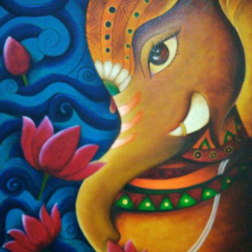 ganapati, 24 x 30 inch, sonu chopra,24x30inch,canvas,paintings,religious paintings,paintings for living room,oil color,GAL0854722942