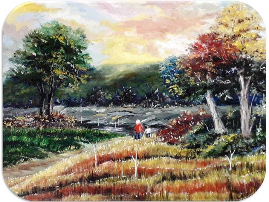 evening, 14 x 12 inch, diptonil banerjee,14x12inch,canvas board,paintings,landscape paintings,nature paintings,oil color,GAL01103222945