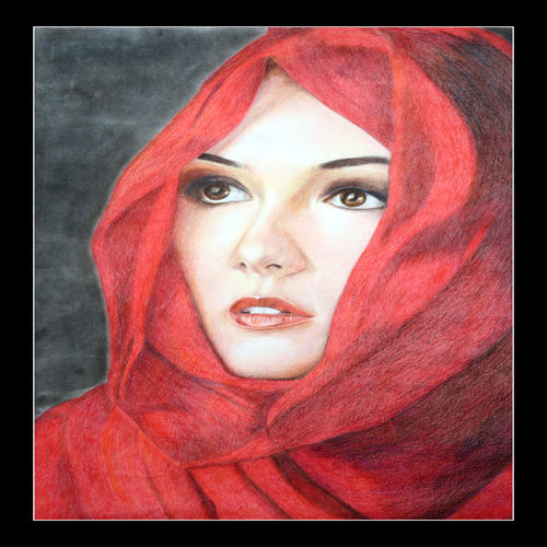 portrait of a girl, 24 x 18 inch, prime international,24x18inch,cartridge paper,paintings,portrait paintings,paintings for dining room,paintings for living room,paintings for bedroom,paintings for office,paintings for hotel,paintings for hospital,pencil color,GAL01282622946