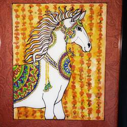 festive horse, 8 x 10 inch, deepti agrawal,8x10inch,acrylic glass,paintings,wildlife paintings,animal paintings,horse paintings,paintings for living room,paintings for office,paintings for bathroom,paintings for kids room,paintings for hotel,paintings for school,acrylic color,watercolor,GAL0596822952