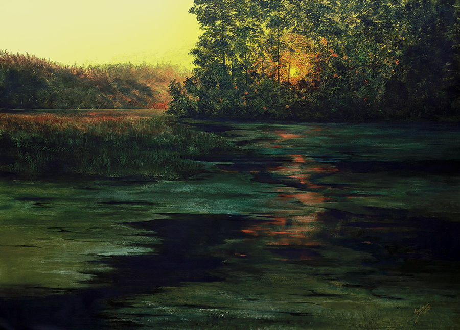 morning raga, 48 x 36 inch, seby augustine,48x36inch,canvas,paintings,landscape paintings,nature paintings,realism paintings,paintings for dining room,paintings for living room,paintings for bedroom,paintings for office,paintings for kids room,paintings for hotel,paintings for school,paintings for hospital,acrylic color,GAL015022961,water,morning,trees