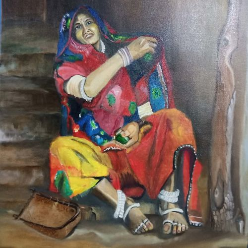 banjara(trible), 20 x 30 inch, sai prasshant paladugu,20x30inch,canvas,paintings,figurative paintings,portrait paintings,portraiture,contemporary paintings,paintings for living room,paintings for office,paintings for hotel,oil color,GAL01151522971