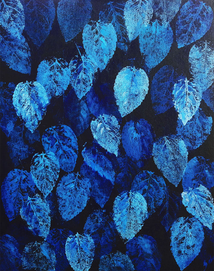 blue leaves, 16 x 20 inch, seby augustine,16x20inch,canvas board,paintings,abstract paintings,surrealist paintings,contemporary paintings,paintings for dining room,paintings for living room,paintings for bedroom,paintings for office,paintings for bathroom,paintings for kids room,paintings for hotel,paintings for kitchen,paintings for school,paintings for hospital,acrylic color,GAL015022986