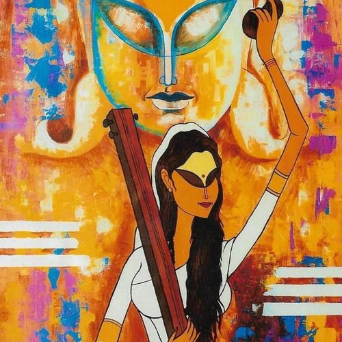 vitthal naam, 28 x 36 inch, kirtiraj mhatre,28x36inch,canvas,paintings,figurative paintings,modern art paintings,religious paintings,paintings for dining room,paintings for living room,paintings for office,acrylic color,GAL0168122989
