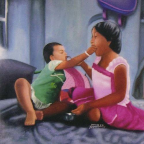 innocent love, 48 x 36 inch, kirtiraj mhatre,48x36inch,canvas,paintings,figurative paintings,portrait paintings,photorealism paintings,realism paintings,baby paintings,kids paintings,paintings for dining room,paintings for living room,paintings for bedroom,paintings for office,paintings for kids room,paintings for hotel,oil color,GAL0168122992
