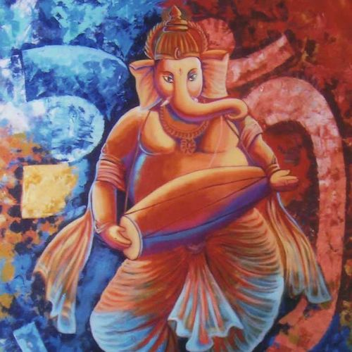 om ganesha, 24 x 36 inch, kirtiraj mhatre,24x36inch,canvas,paintings,figurative paintings,modern art paintings,ganesha paintings,paintings for dining room,paintings for living room,paintings for office,paintings for hotel,acrylic color,GAL0168122994,ganpati bappa morya,ganesh chaturthi,ganesh murti,elephant god,religious,lord ganesh,ganesha,om,hindu god,shiv parvati, putra,bhakti,blessings,aashirwad,pooja,puja,aarti,ekdant,vakratunda,lambodara,bhalchandra,gajanan,vinayak,prathamesh,vignesh,heramba,siddhivinayak,mahaganpati,omkar,mushak,mouse,ladoo,modak