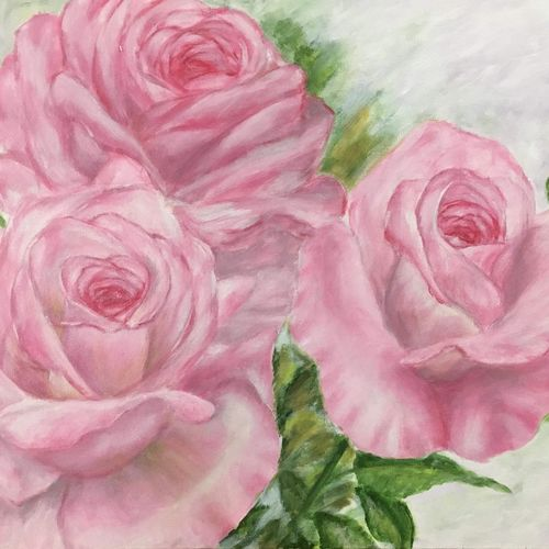 pink roses, 24 x 18 inch, anitta paul,24x18inch,canvas,paintings,flower paintings,modern art paintings,still life paintings,nature paintings,photorealism,paintings for dining room,paintings for living room,paintings for bedroom,paintings for kids room,acrylic color,GAL01159023002