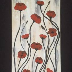 abstract poppies, 12 x 24 inch, anitta paul,12x24inch,canvas,paintings,abstract paintings,flower paintings,modern art paintings,still life paintings,nature paintings,impressionist paintings,paintings for dining room,paintings for living room,paintings for bedroom,paintings for office,acrylic color,GAL01159023004