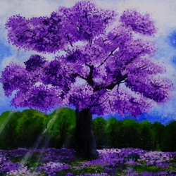 morning glaze through lilac blossoms , 14 x 18 inch, nebulah art studio,14x18inch,canvas board,paintings,landscape paintings,nature paintings,art deco paintings,paintings for dining room,paintings for living room,paintings for bedroom,paintings for office,paintings for kids room,paintings for hotel,paintings for kitchen,paintings for school,paintings for hospital,oil color,GAL01173123014,tree,flower,green,purple,trees,sun-rays,