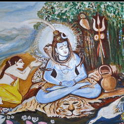 meditating siva beeing distrued by kama dev, 58 x 34 inch, anand manchiraju,58x34inch,canvas,paintings,lord shiva paintings,paintings for dining room,paintings for living room,paintings for bedroom,paintings for office,paintings for hotel,paintings for hospital,acrylic color,GAL01254023019