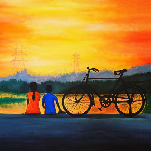 sunset time, 23 x 22 inch, rijoy  emmanuel,23x22inch,canvas,paintings,figurative paintings,landscape paintings,nature paintings,paintings for dining room,paintings for living room,paintings for bedroom,paintings for office,paintings for kids room,paintings for hotel,paintings for school,acrylic color,GAL0643123030