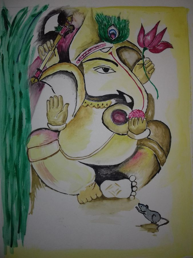 lord ganesha, 8 x 12 inch, jideesh r,8x12inch,paper,paintings,religious paintings,ganesha paintings,watercolor,GAL01301423033,ganpati bappa morya,ganesh chaturthi,ganesh murti,elephant god,religious,lord ganesh,ganesha,om,hindu god,shiv parvati, putra,bhakti,blessings,aashirwad,pooja,puja,aarti,ekdant,vakratunda,lambodara,bhalchandra,gajanan,vinayak,prathamesh,vignesh,heramba,siddhivinayak,mahaganpati,omkar,mushak,mouse,ladoo,modak