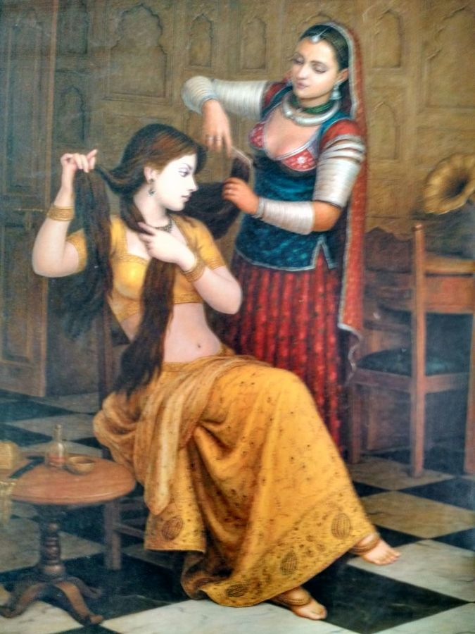 making hairstyle, 48 x 60 inch, arjun makad,religious paintings,paintings for bedroom,canvas,oil,48x60inch,GAL08932304