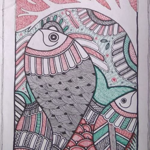 wildlife madhubani painting, 8 x 23 inch, neeraj jha,8x23inch,cartridge paper,paintings,madhubani paintings,paintings for dining room,paintings for living room,paintings for bedroom,paintings for office,paintings for kids room,paintings for hotel,paintings for kitchen,paintings for school,paintings for hospital,fabric,natural color,GAL01278423051