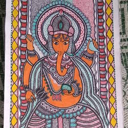 lord ganesha painting, 8 x 23 inch, neeraj jha,8x23inch,cartridge paper,paintings,madhubani paintings,paintings for dining room,paintings for living room,paintings for bedroom,paintings for office,paintings for bathroom,paintings for kids room,paintings for kitchen,paintings for school,paintings for hospital,fabric,natural color,GAL01278423053