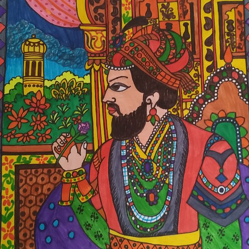 shah jahan-the warrior, 8 x 12 inch, rayana saha,8x12inch,thick paper,modern art paintings,paintings for living room,paintings for hotel,paintings for living room,paintings for hotel,pen color,ball point pen,GAL01304623057