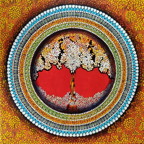 mandala - soul connection series 7, 30 x 30 inch, nitu chhajer,30x30inch,canvas,paintings,abstract paintings,acrylic color,GAL058223058