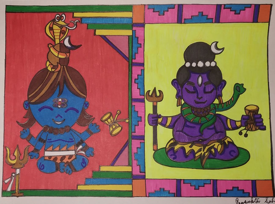shiva- the lord, 8 x 12 inch, rayana saha,8x12inch,renaissance watercolor paper,lord shiva paintings,paintings for dining room,paintings for living room,paintings for dining room,paintings for living room,pen color,GAL01304623064