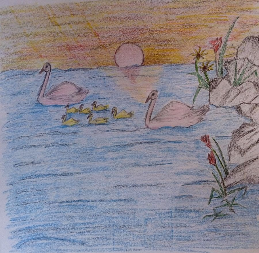 evening nature, 11 x 9 inch, mrs. kalyani lahon,fine art drawings,paintings for living room,paper,pencil color,11x9inch,GAL06572308